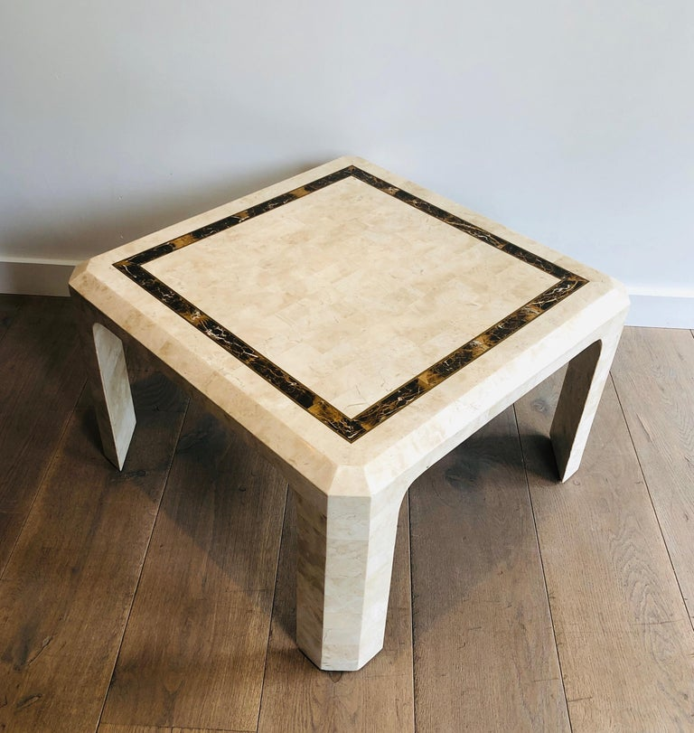 Pair of Marble Plates Side Tables with a Brass Line, French, Circa 1970 For Sale 13