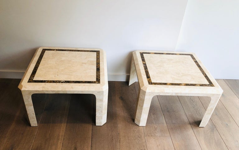 Pair of Marble Plates Side Tables with a Brass Line, French, Circa 1970 For Sale 14