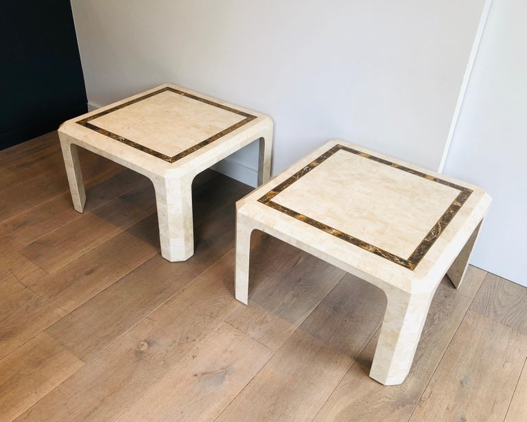 Pair of Marble Plates Side Tables with a Brass Line, French, Circa 1970 For Sale 15