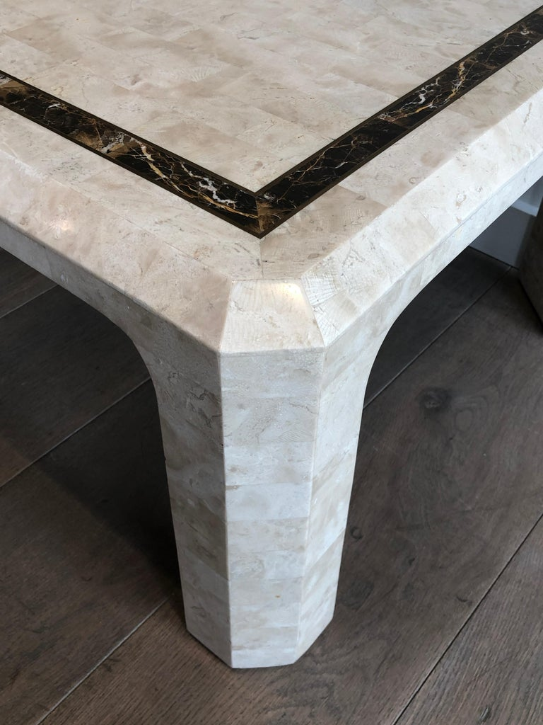 Late 20th Century Pair of Marble Plates Side Tables with a Brass Line, French, Circa 1970 For Sale