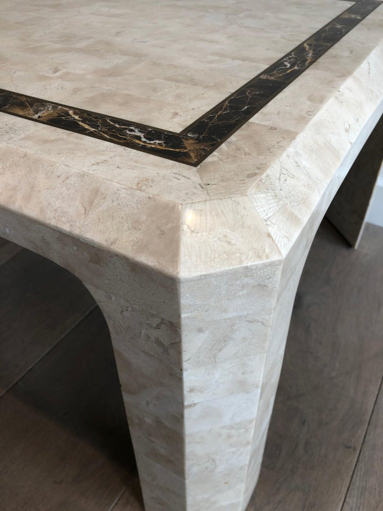 Pair of Marble Plates Side Tables with a Brass Line, French, Circa 1970 For Sale 1