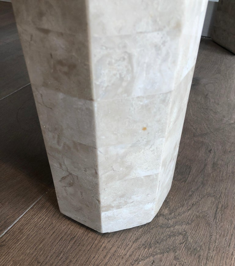 Pair of Marble Plates Side Tables with a Brass Line, French, Circa 1970 For Sale 3