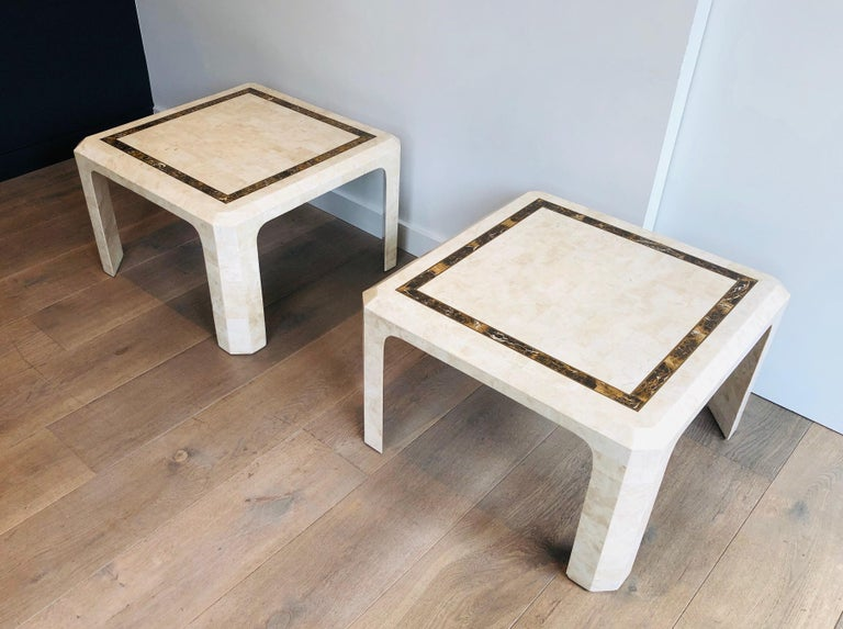 Pair of Marble Plates Side Tables with a Brass Line, French, Circa 1970 For Sale 4
