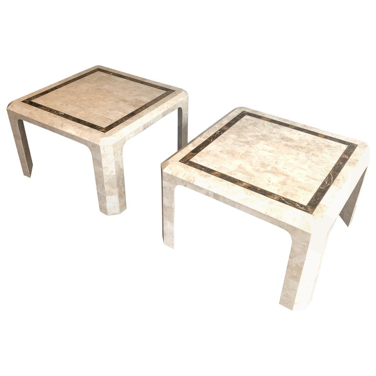 Pair of Marble Plates Side Tables with a Brass Line, French, Circa 1970 For Sale