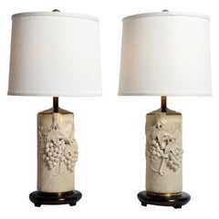Pair of Marble Stone Table Lamps