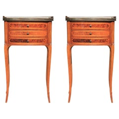 Pair of Marble Top 3-Drawer Delicate French Nightstands or Side Tables