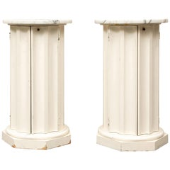 Pair of Marble-Top Column Form Commode Tables