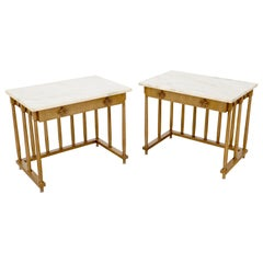 Pair of Marble-Top Columns Arches Shape One-Drawer End Side Tables Nightstands