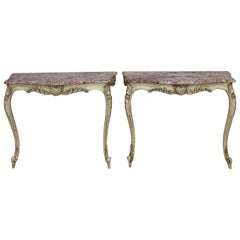 Pair of Marble-Top Console Tables