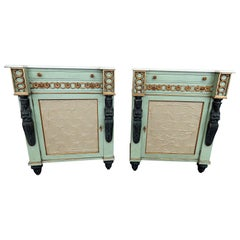 Pair of French Blue Carved Figural Marble-Top Empire Style Commodes Nightstands