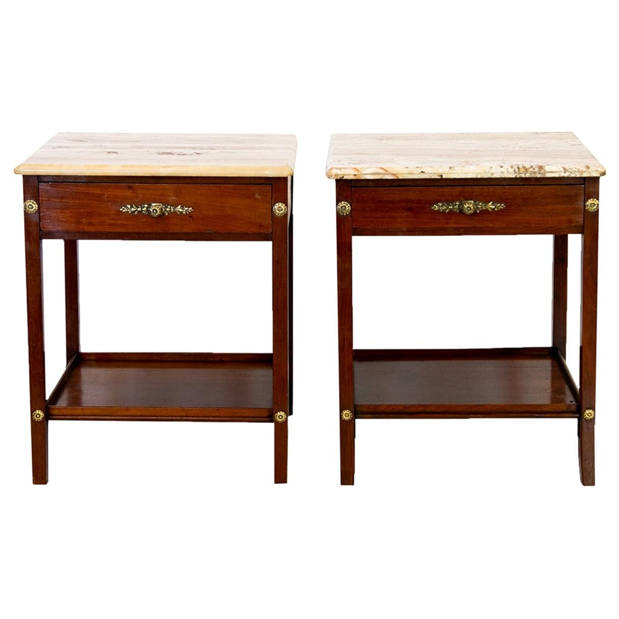 Pair of Marble-Top End Tables