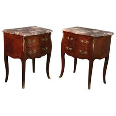 Pair of Marble-Top French Louis XV Inlaid Walnut Nightstands Tables, circa 1930