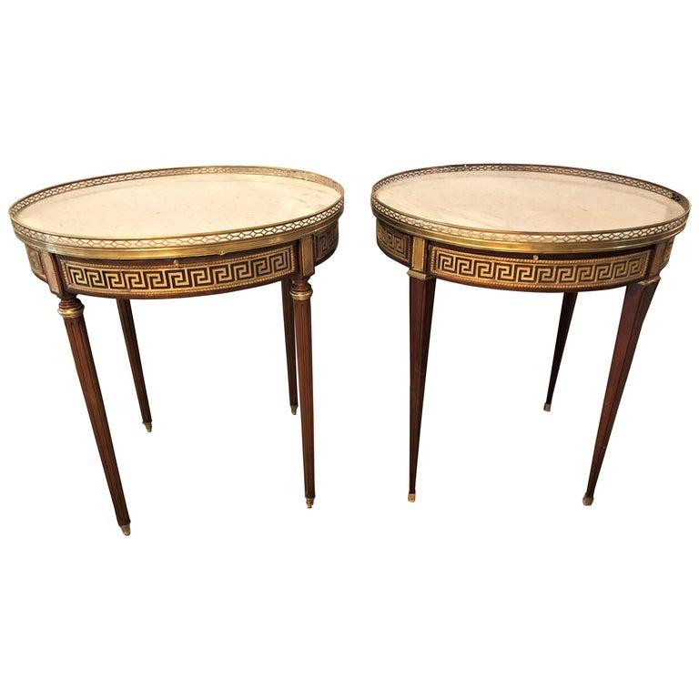 Pair of marble-top Greek key Bouiliotte tables / end mahogany double drawers.