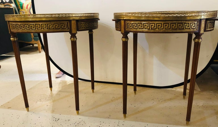 Louis XVI Pair of Marble-Top Greek Key Bouiliotte Tables / End Mahogany Double Drawers For Sale