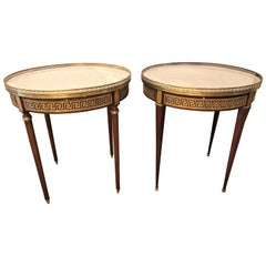 Pair of Marble-Top Greek Key Bouiliotte Tables / End Mahogany Double Drawers