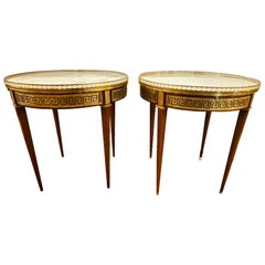 Pair of Marble Top Greek Key Bouillotte or End Tables, Manner of Jansen
