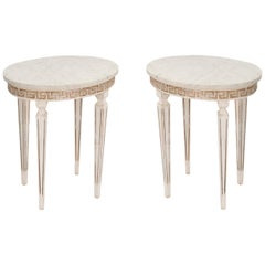 Pair of Marble-Top Italian Accent Tables with Greek Key Apron