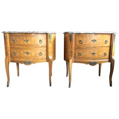 Pair of Marble Top Louis XV Style Oval Inlaid Commodes, Nightstands or Chests