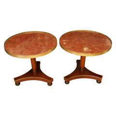 Pair of Marble-Top Side Tables