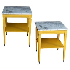 Marble-Top End Tables in Marigold Yellow, a Pair