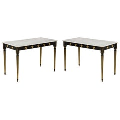 Pair of Marble-Topped Ebonized and Giltwood Consoles, by Jansen