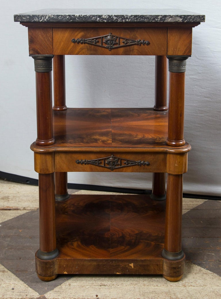 Pair of Marble Topped Empire Style End Tables In Good Condition For Sale In Woodbury, CT
