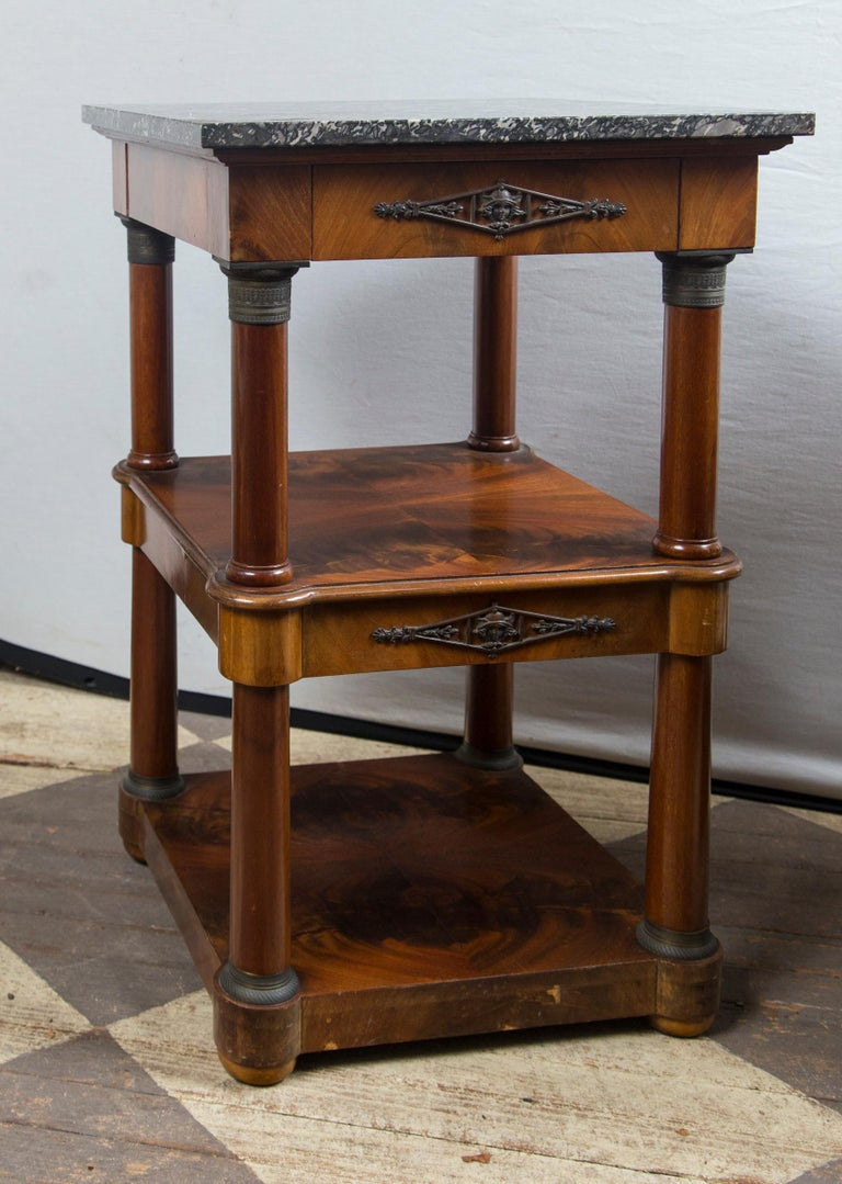 20th Century Pair of Marble Topped Empire Style End Tables For Sale