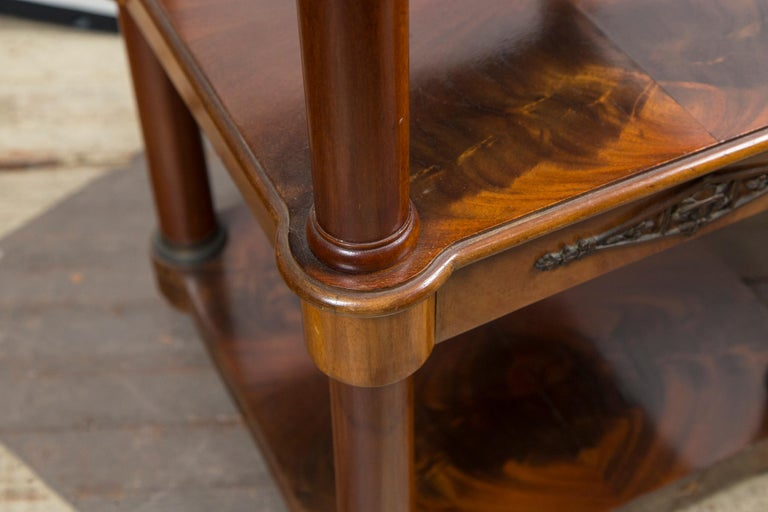 Bronze Pair of Marble Topped Empire Style End Tables For Sale