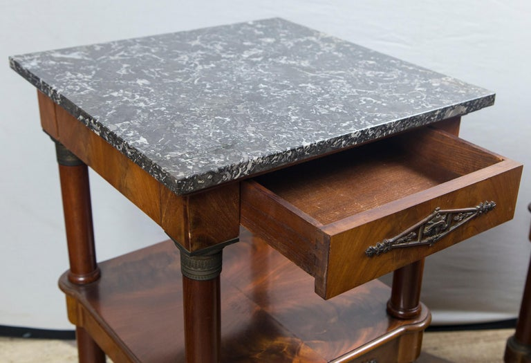 Pair of Marble Topped Empire Style End Tables For Sale 2