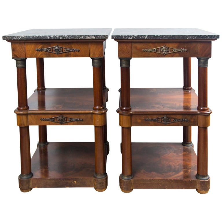 Pair of Marble Topped Empire Style End Tables For Sale