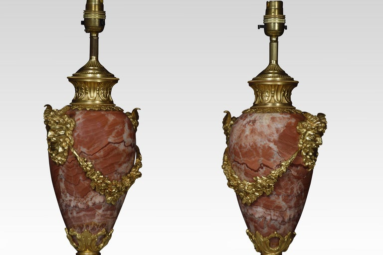 British Pair of Marble Vase Form Table Lamps For Sale