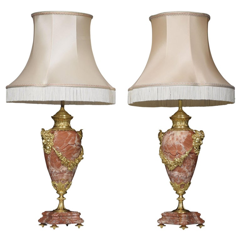 Pair of Marble Vase Form Table Lamps For Sale