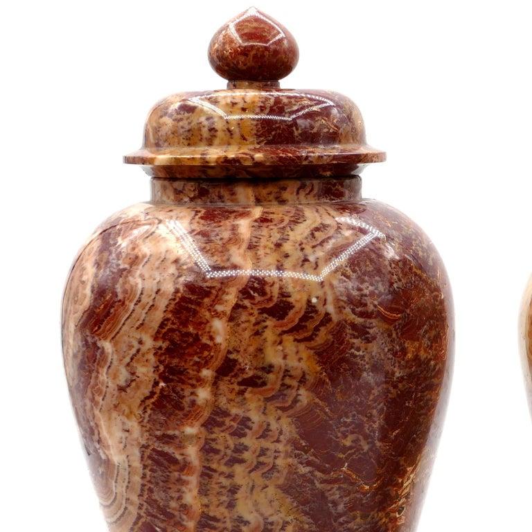 German Pair of Marble Vases, by Böttinger, Rupp & Moeller, Early 20th century For Sale