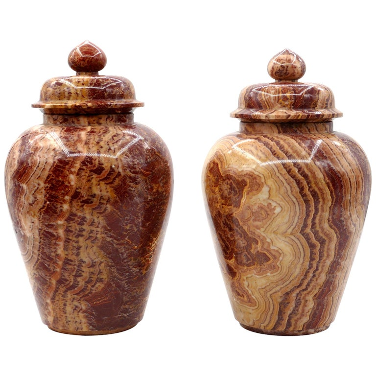 Pair of Marble Vases, by Böttinger, Rupp & Moeller, Early 20th century For Sale