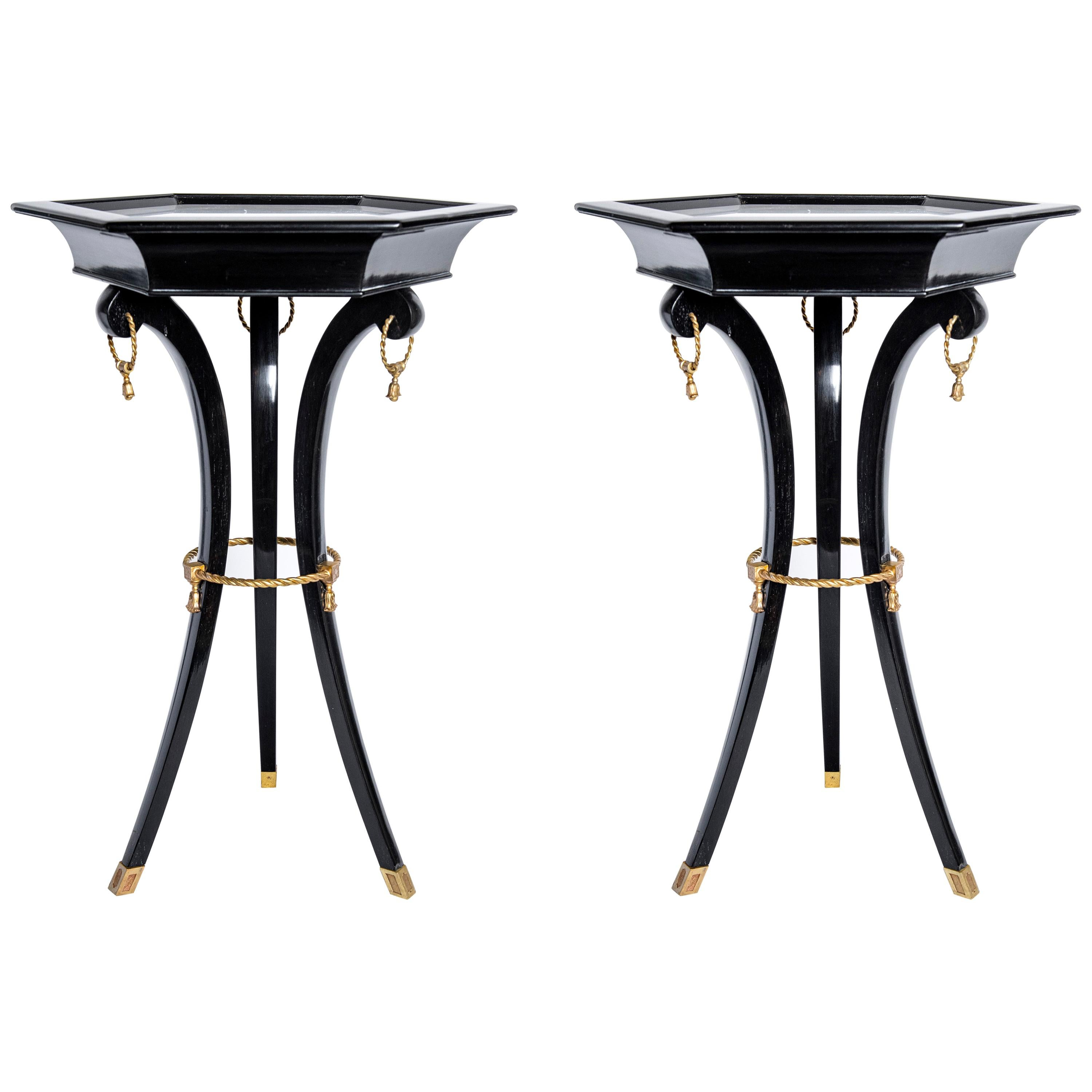 Pair of Marble, Wood and Gilt Bronze Side Tables, France, circa 1950