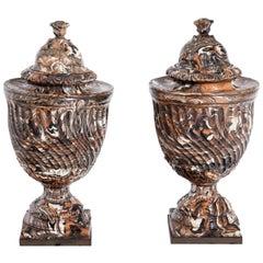 Pair of Marbled Stoneware Urns, Germany / Kassel or Fulda, circa 1800