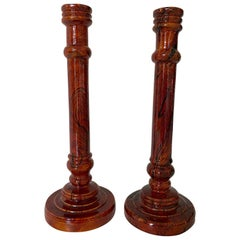 Pair of Marbled Wood Candlesticks