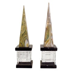 Pair of Marbleized Murano Glass Obelisks