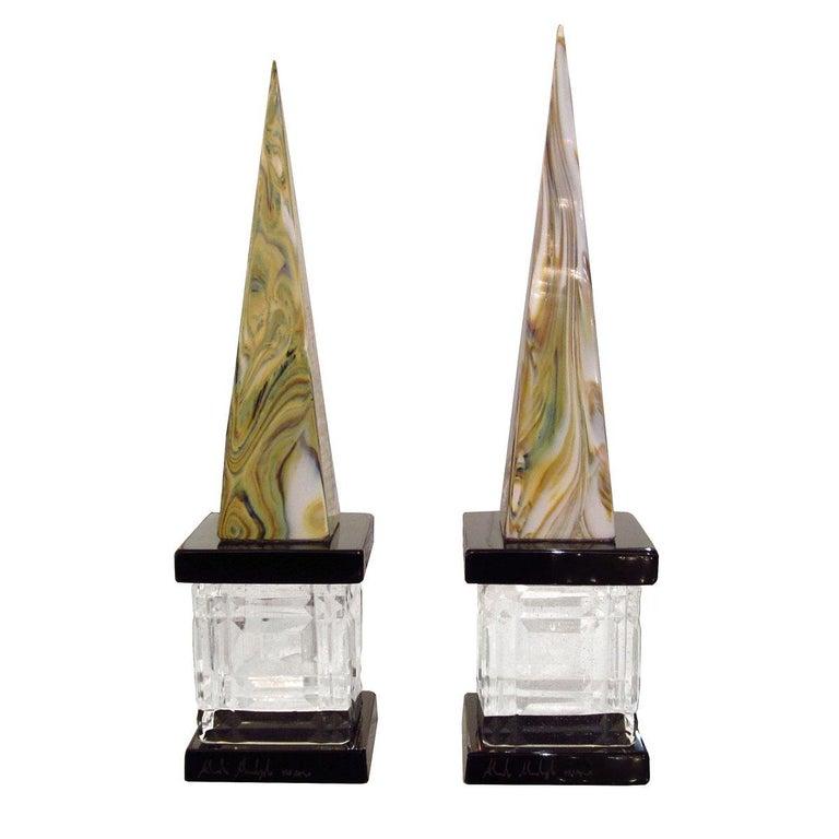 Pair of Marbleized Murano Glass Obelisks For Sale