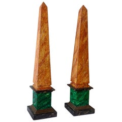 Pair of Marbleized Obelisks