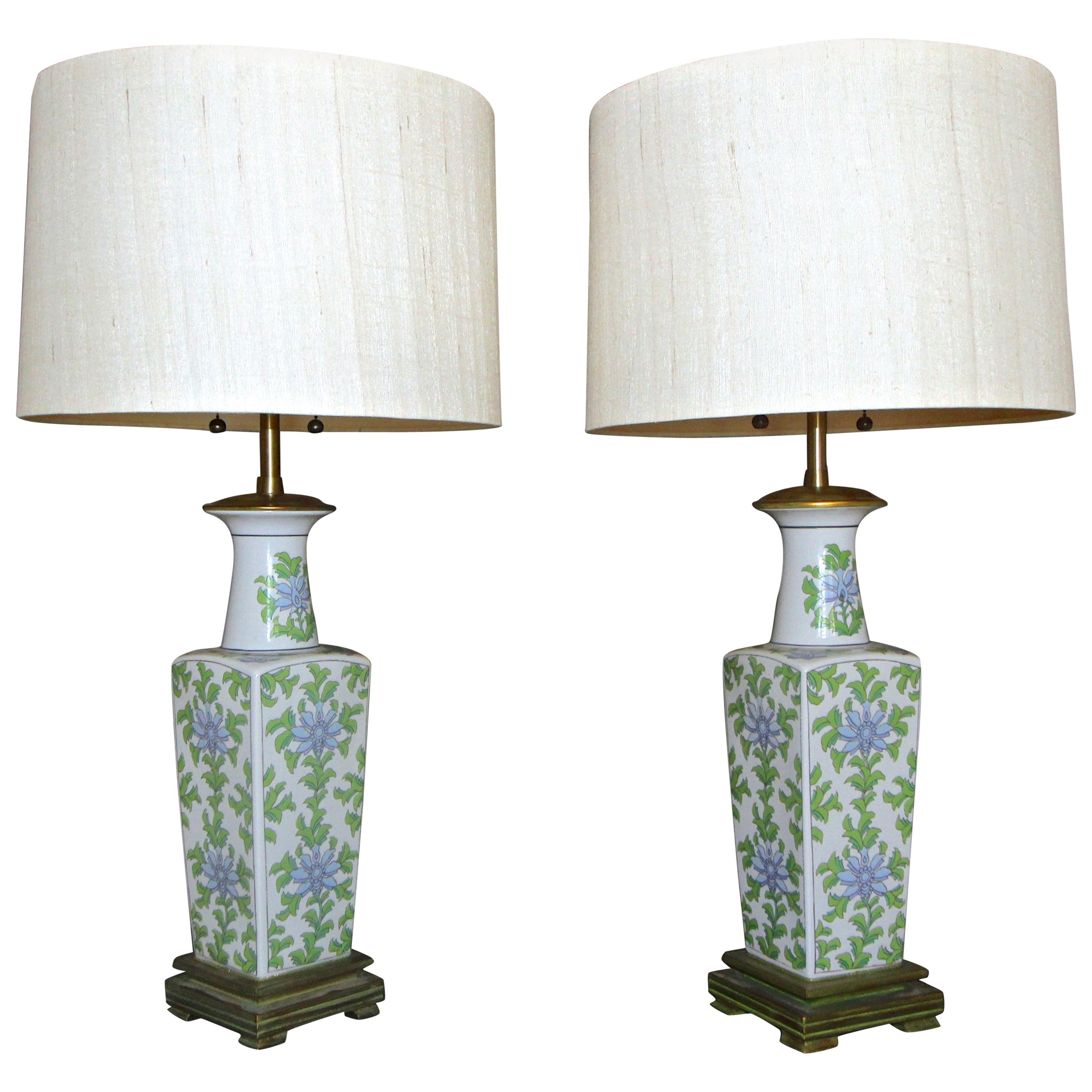 Pair of Marbro Asian Floral Porcelain Table Lamps