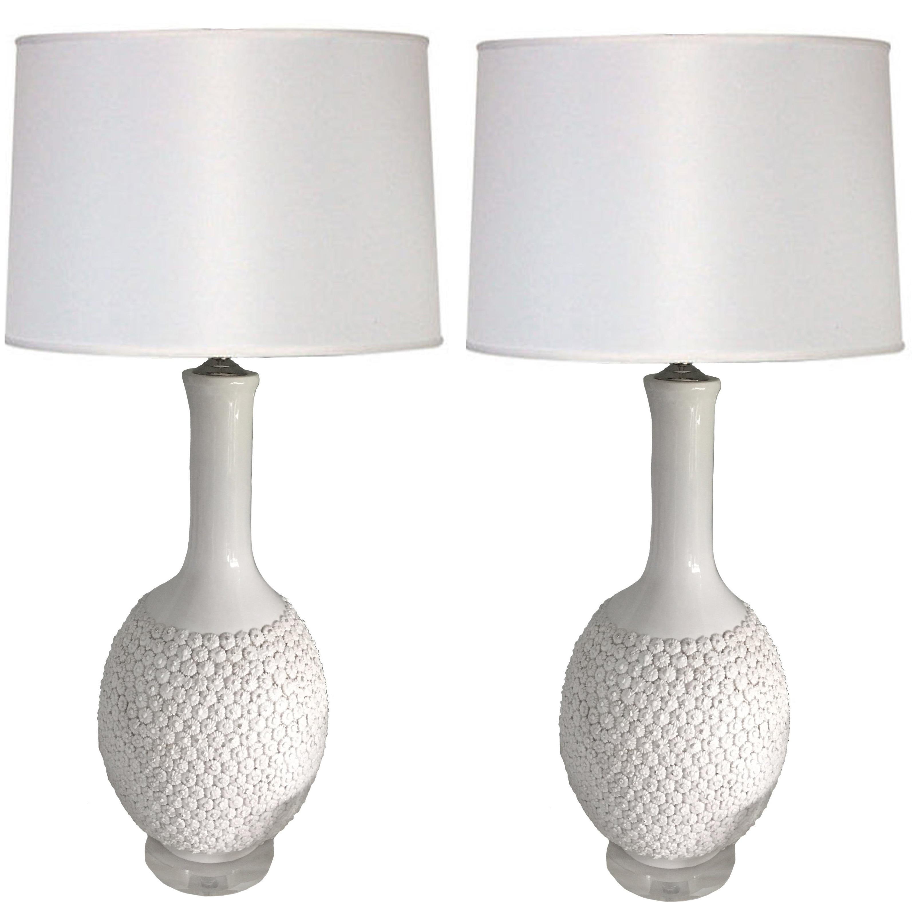 Pair of Marbro Blanc de Chien Flower Lamps