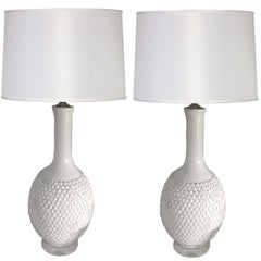 Pair of Marbro Blanc de Chien Flower Lamps