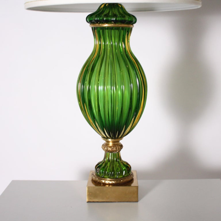 Pair of Marbro for Seguso Murano green lamps, circa 1950.