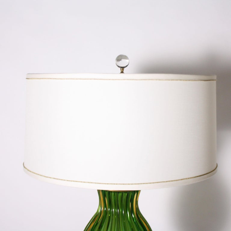 Italian Pair of Marbro for Seguso Murano Green Lamps, circa 1950 For Sale