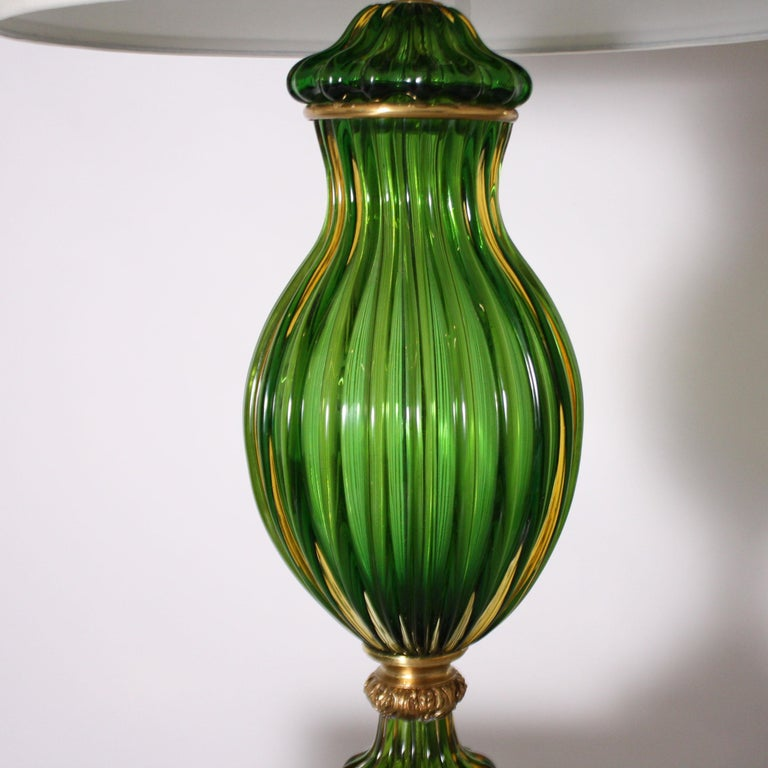 Pair of Marbro for Seguso Murano Green Lamps, circa 1950 In Good Condition For Sale In Dallas, TX