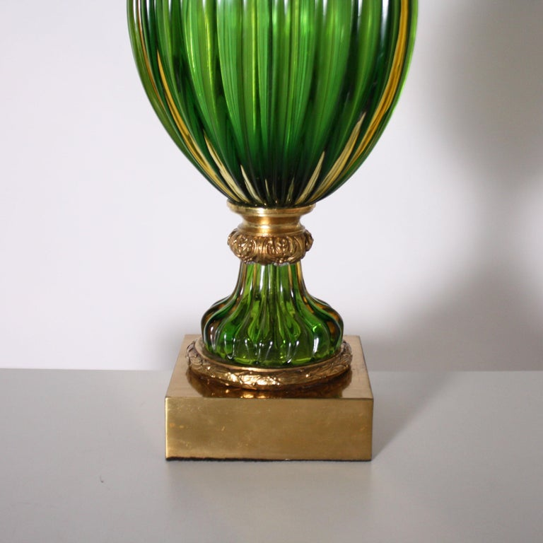Mid-20th Century Pair of Marbro for Seguso Murano Green Lamps, circa 1950 For Sale