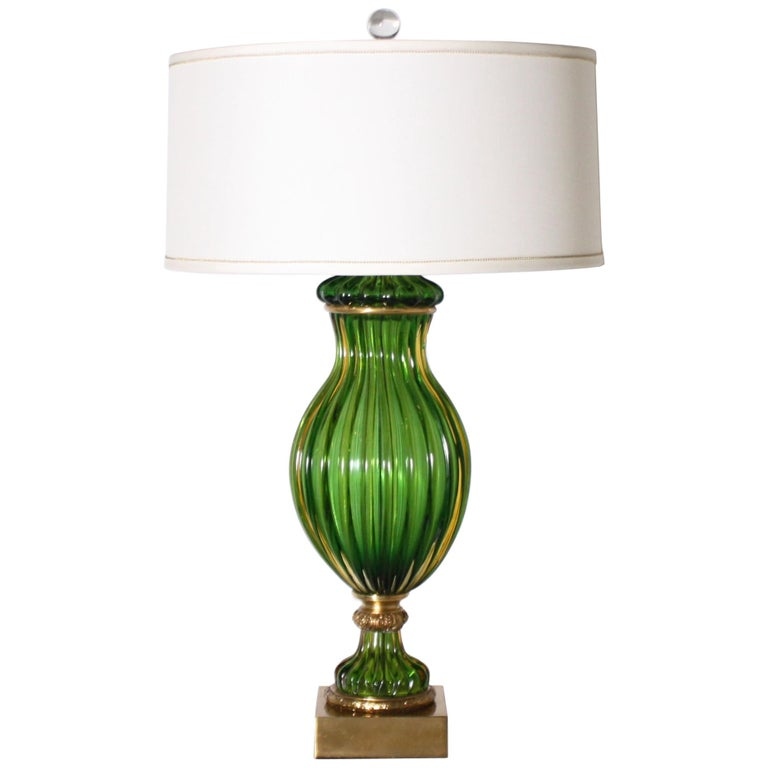 Pair of Marbro for Seguso Murano Green Lamps, circa 1950 For Sale