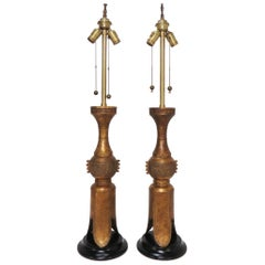 Pair of Marbro Gilded Bronze Table Lamps in Form of Chinese Temple Candleholders