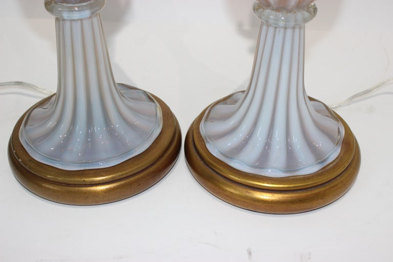 Mid-Century Modern Pair of Seguso Murano Glass Lamps for Marbro Lamps For Sale